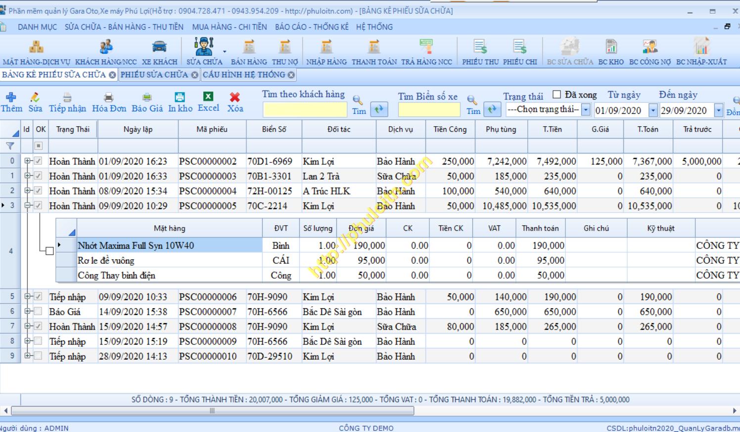 Bảng kê bảo dưỡng sửa chửa Phần mềm quản lý trung tâm sửa chữa bảo dưỡng gara xe