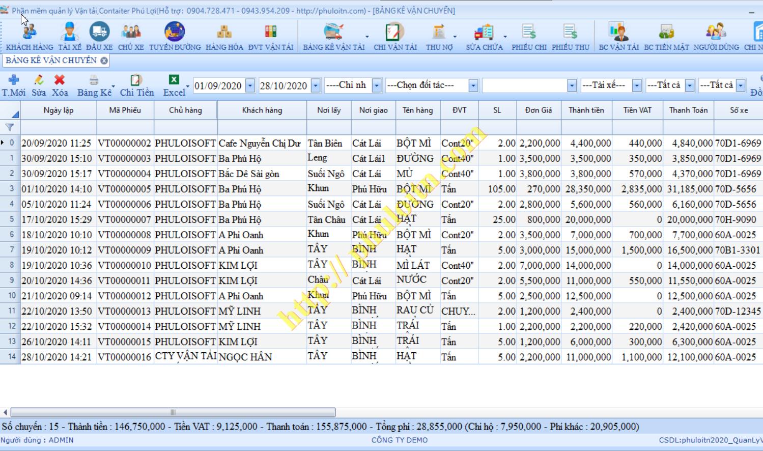 Quản lý bảng kê lệnh điều xe,phiếu điều vận tải Phần mềm quản lý vận tải hàng hóa,vận chuyển logictics Phú Lợi