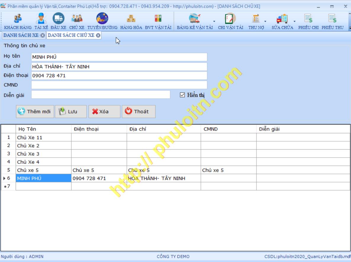 Quản lý chủ xe Phần mềm quản lý vận tải hàng hóa,vận chuyển logictics Phú Lợi