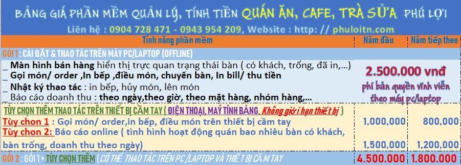 Phần Mềm Tính tiền cafe,quán nhậu, quán ăn,bida | Phuloitn.com